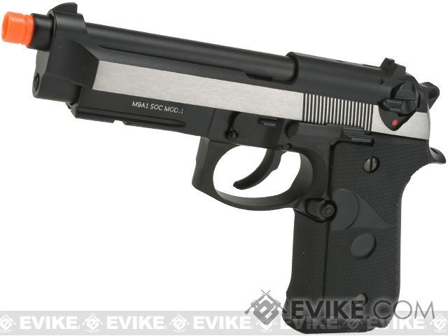 WE-USA NG3 M9A1 S.O.C. Special Edition Gas Blowback Pistol - Two Tone / Brushed Aluminum