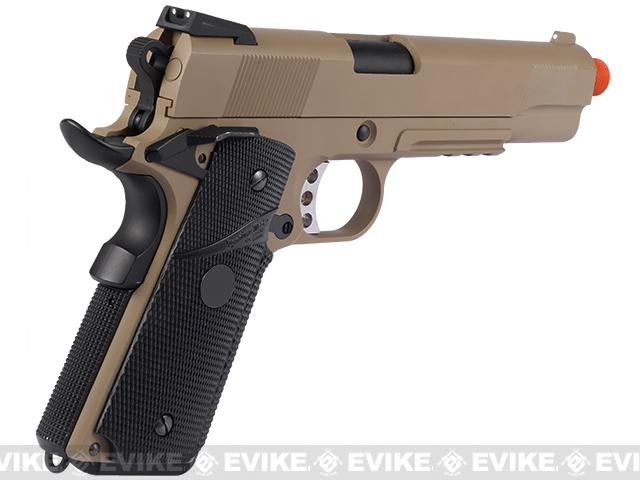 Pre-Order ETA February 2017 WE Full Metal 1911 MEU Railed Frame Heavy Weight Airsoft Gas Blowback Pistol - Desert