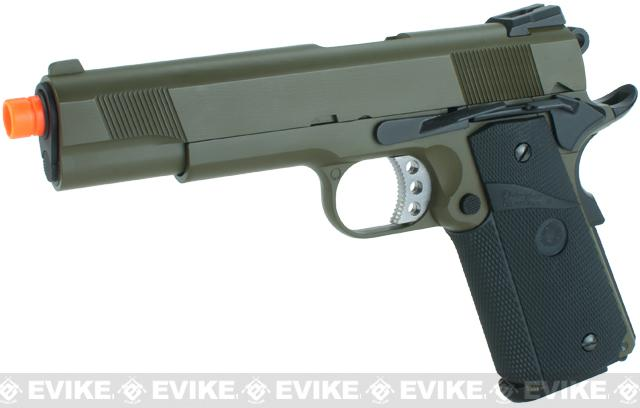WE Full Metal 1911 MEU Railed Frame Heavy Weight Airsoft Gas Blowback Pistol - OD Green