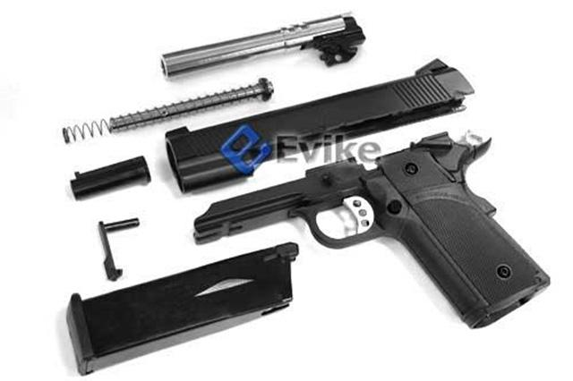KJW Full Metal Custom 1911 Tactical HI-CAPA Gas / CO2 Blowback - Black (Package: Add Co2 Magazine)