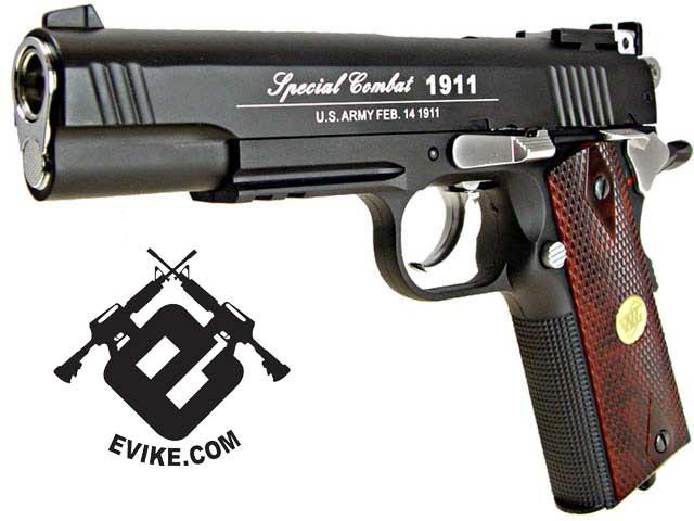 WG Co2 Powered Special Combat 1911 Airsoft Gas Gun - Black