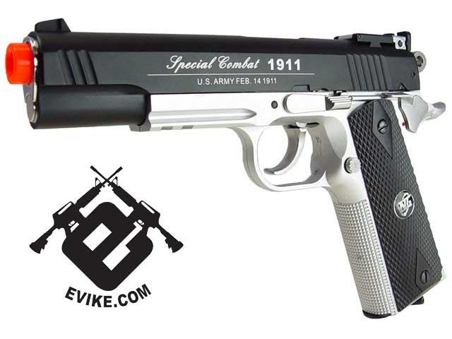 WG Full Metal Co2 Powered Special Combat 1911 Airsoft Gas Gun - Two Tone