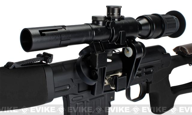 AIM Gas Blowback Russian Classic AK SVD Airsoft GBB Sniper Rifle w/ Scope - Black