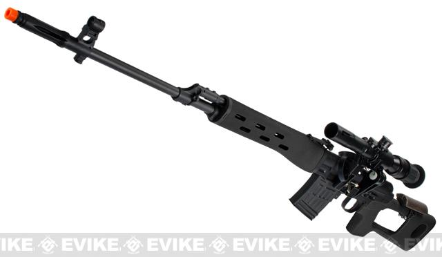 AIM Gas Blowback Russia Classic AK SVD Airsoft GBB Sniper Rifle w/ Scope - Black (580 FPS!)