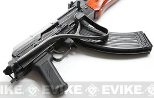 GHK Full Metal AKMS Airsoft GBB Rifle with Real Wood Handguard and Steel Folding Stock