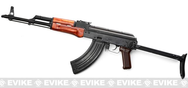 Pre-Order ETA May 2017 GHK Full Metal AKMS Airsoft GBB Rifle with Real Wood Handguard and Steel Folding Stock