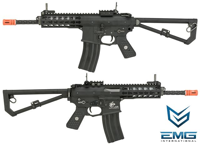(2 MAGAZINE PACKAGE DEAL) EMG Knights Armament Airsoft PDW M2 Standard Gas Blowback Airsoft Rifle - Black (Version: with Green Gas Magazine)