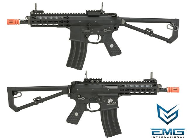 (2 MAGAZINE BUNDLE DEAL) EMG Knights Armament Airsoft PDW M2 Compact Gas Blowback Airsoft Rifle - Black (Version: with Green Gas Magazine)