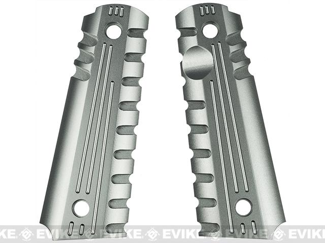 Matrix Aluminum CNC Grip for 1911 Series Airsoft GBB (Titanium Gray)