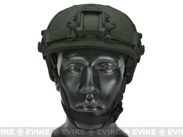 MICH 2001 Helmet w/ NVG Mount & Side Rail for Airsoft - OD Green