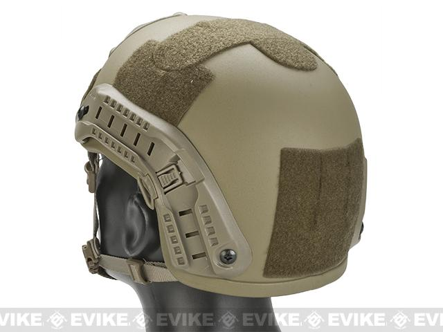 Mich 2001 Helmet w/ NVG Mount & Side Rail for Airsoft - Tan