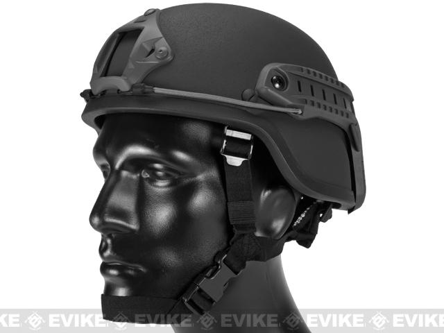 Matrix Mich 2000 Helmet w/ NVG Mount & Side Rail For Airsoft - Black