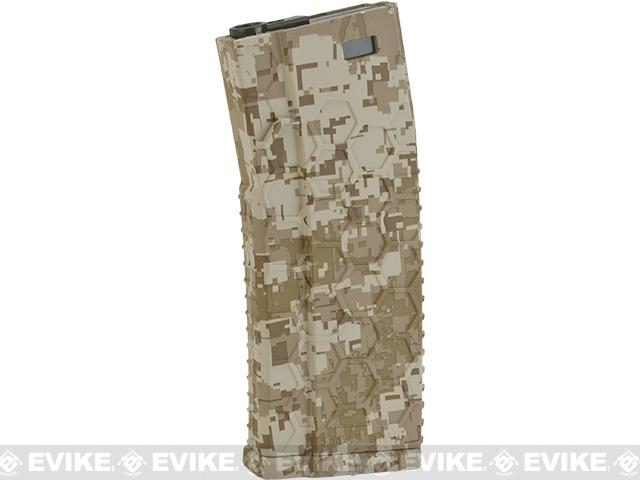 Hexmag Airsoft 120rds Polymer Mid-Cap Magazine for M4 / M16 Series Airsoft AEG Rifles - Desert Digital (Single)