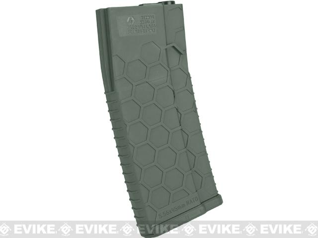 Hexmag Airsoft 120rds Polymer Mid-Cap Magazine for M4 / M16 Series Airsoft AEG Rifles(Color: OD Green / Pack of 5)