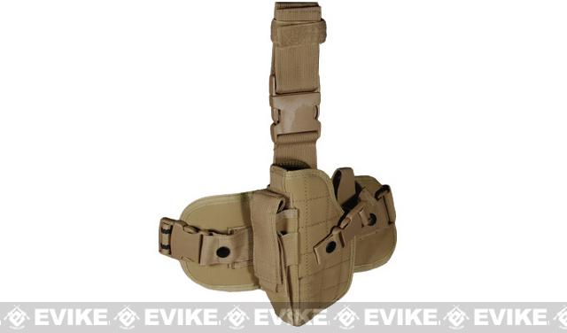 Special Force Quick Draw Tactical Thigh Holster w/ Drop Leg Panel (Coyote Tan / Left)