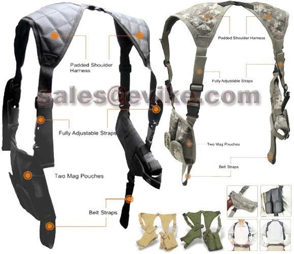 Universal Tactical Shoulder Holster with Dual Magazine Pouch - Tan