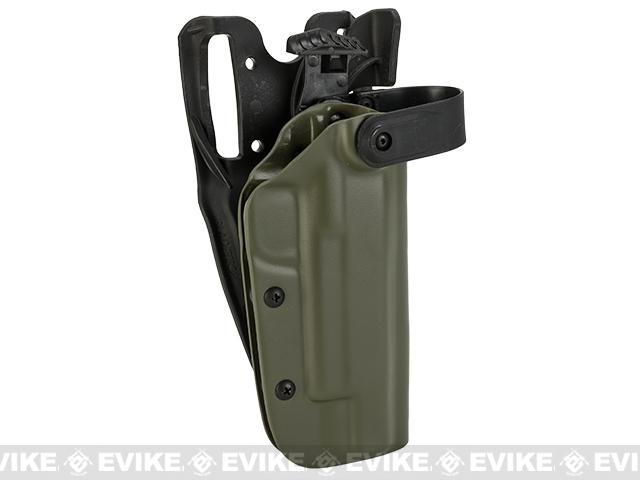 Blade-Tech WRS Level II Duty Holster w/ Duty Dropped Offset Belt Mount - 1911 5 w/ Rail (Right Hand - OD Green)