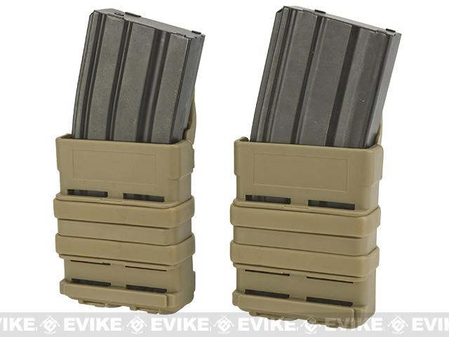 High Speed MOLLE Compatible Airsoft M4 Mag Carrier - Dark Earth / Set of 2