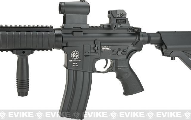 ICS Full Metal Airsoft M4 RIS Electric Blowback Airsoft M4 AEG Rifle - Black