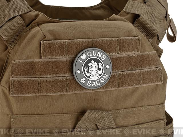 Rubberized PVC I Love Guns & Bacon Tactical Patch - Grey
