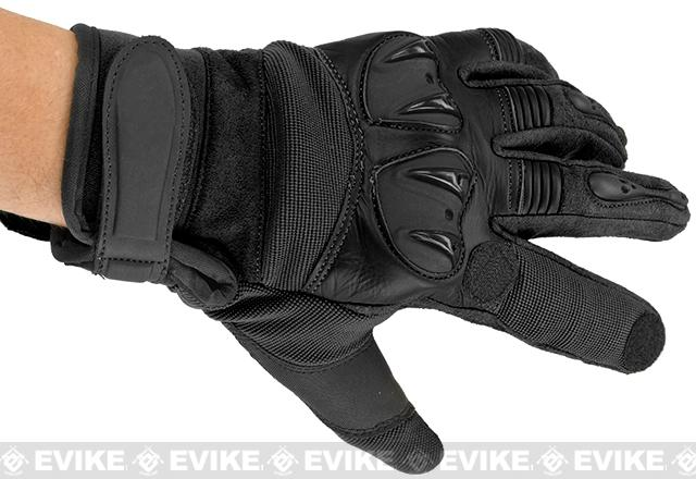 Matrix Tactical Knuckle Protector Leather Shooting Gloves - Black (Size: X-Large)