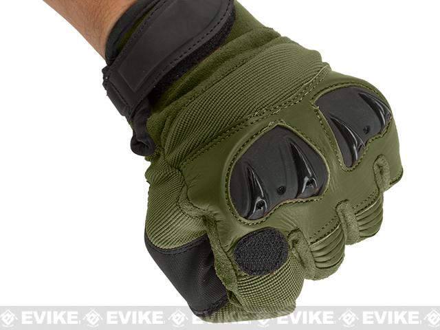 Matrix Tactical Knuckle Protector Leather Shooting Gloves - OD Green (Size: Small)