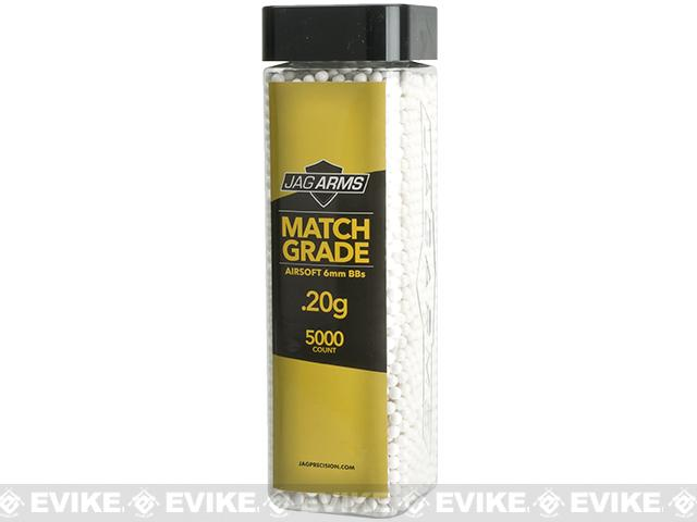 JAG Armament Match Grade Airsoft BBs - White (QTY: 1 Bottle / 0.20g 5,000 Rounds)