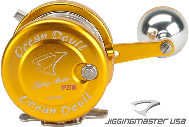 Jigging Master Ocean Devil Fishing Reel - Gold / Silver (Size: PE5)