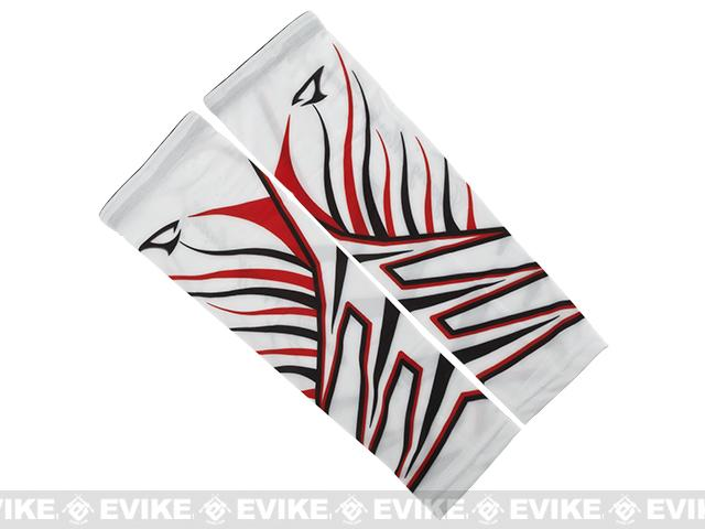 Jigging Master UV Cover-Up Arm Sleeves (Color: White / Red)