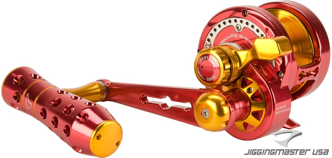 Jigging Master Power Spell Fishing Reel - Red / Gold (Size: PE3)