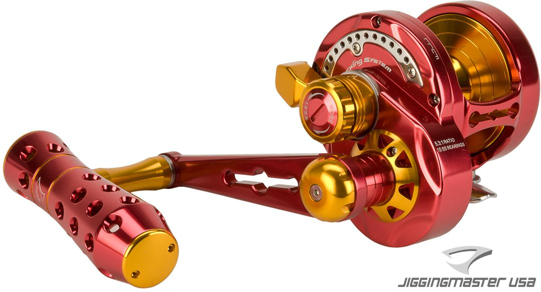 Jigging Master Monster Game High Speed Fishing Reel - Red / Gold (Size: PE4)