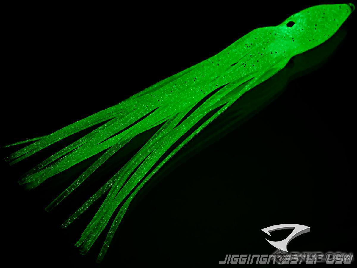 Jigging Master Rubber Squid Jig Hook Skirt (Size: 12cm #3 Blue Glow)