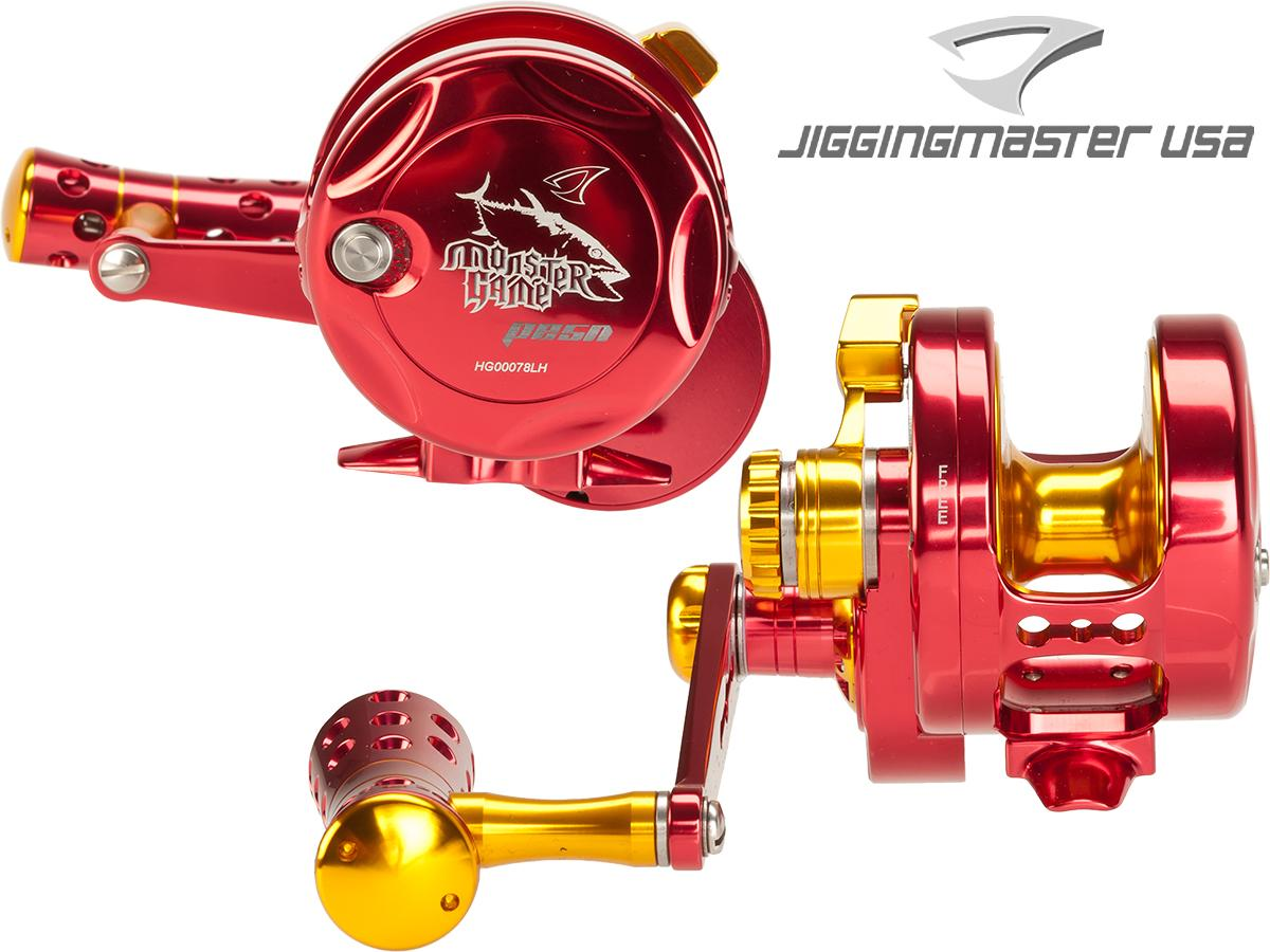 Jigging Master Monster Game High Speed Fishing Reel - Red / Gold (Size: PE5N Left Hand / Narrow)