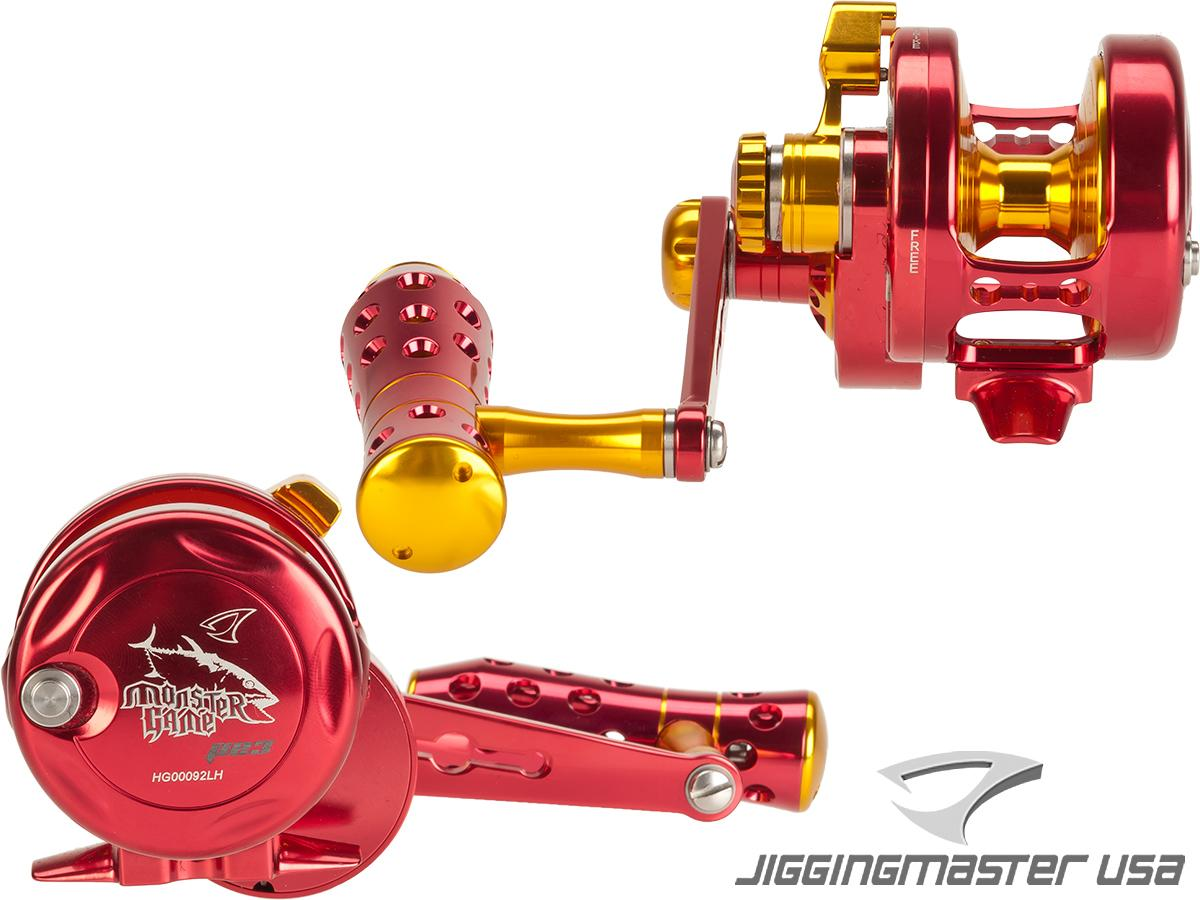 Jigging Master Monster Game High Speed Fishing Reel - Red / Gold (Size: PE3 / Left Hand)