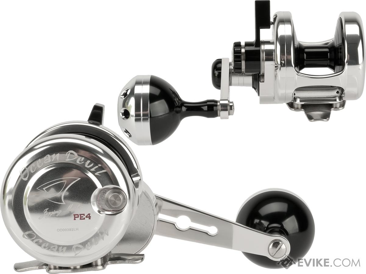 Jigging Master Ocean Devil Fishing Reel - Silver / Black (Size: PE4 Left Hand)