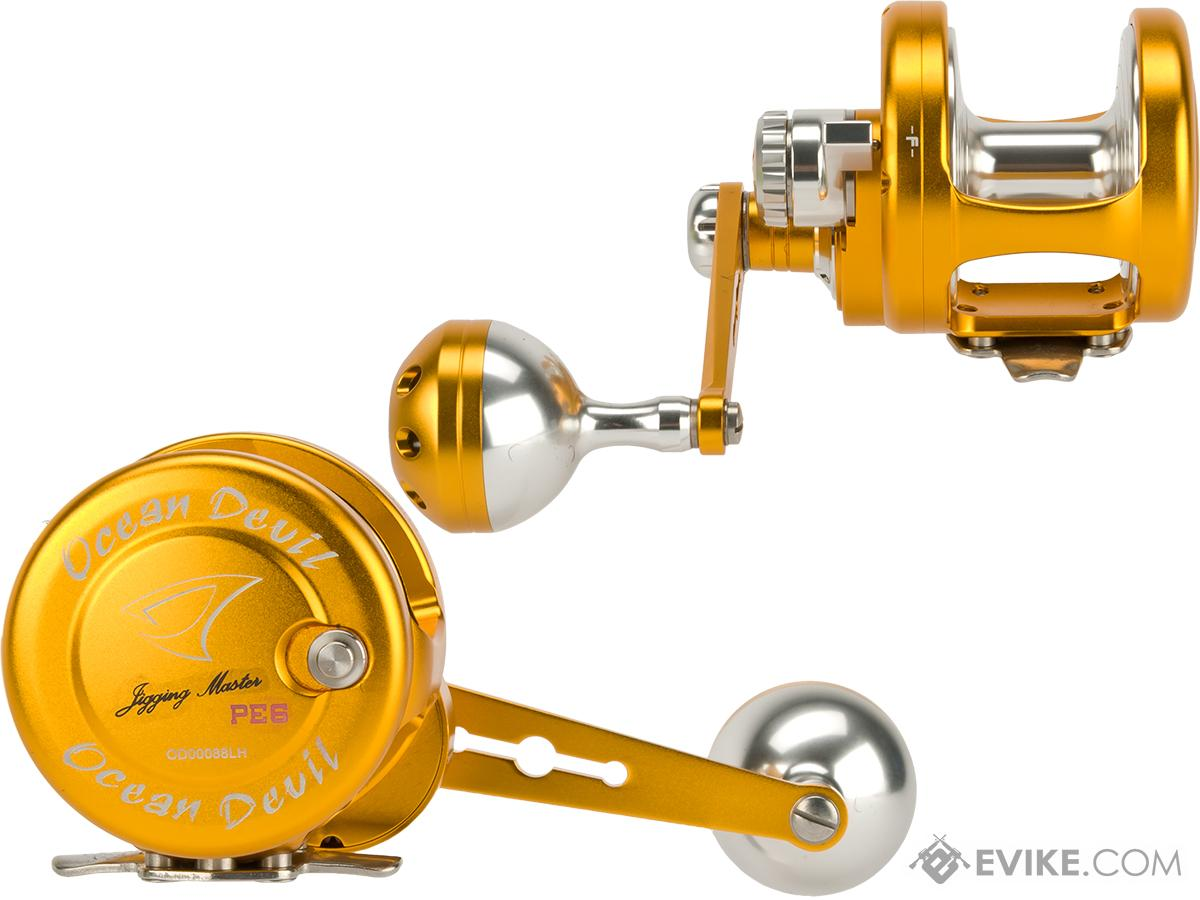 Jigging Master Ocean Devil Fishing Reel - Gold / Silver (Size: PE6 Left Hand)