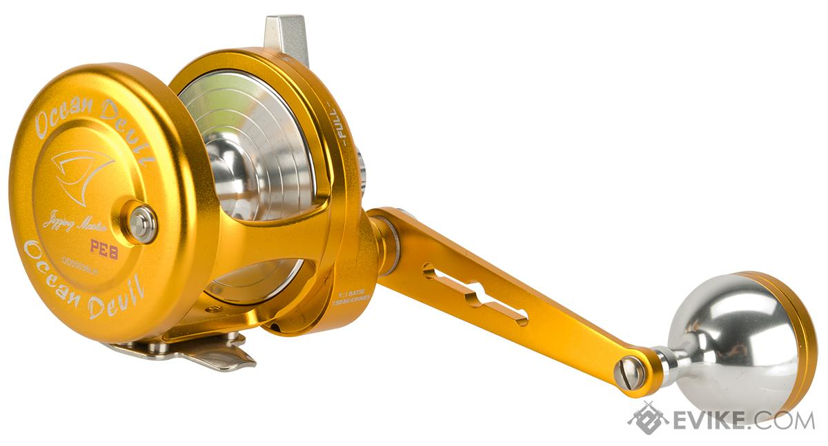 Jigging Master Ocean Devil Fishing Reel - Gold / Silver (Size: PE8 Left Hand)