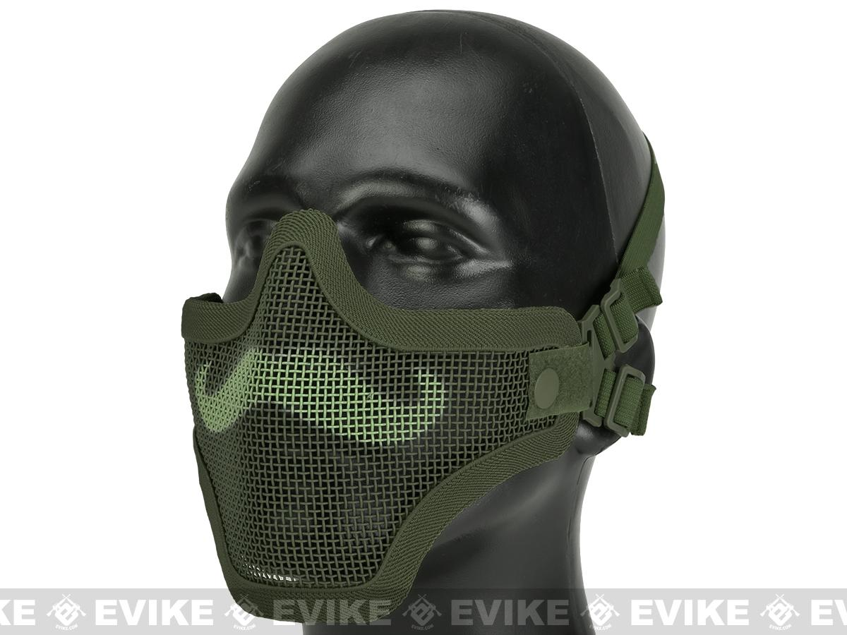 6mmProShop Iron Face Carbon Steel Mesh Moustache Lower Half Mask - OD Green