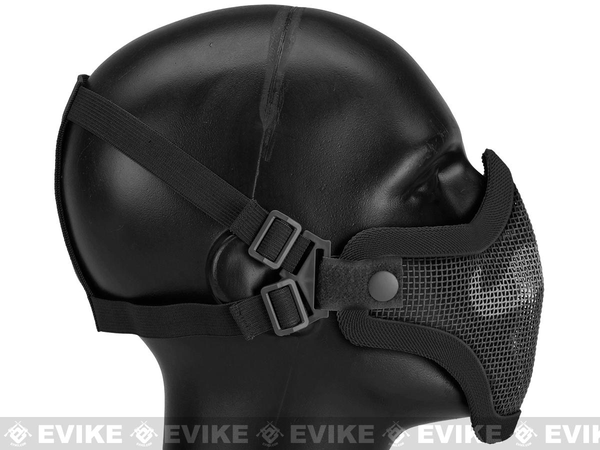 6mmProShop Iron Face Carbon Steel Mesh Moustache Lower Half Mask - Black