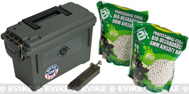 Evike.com Molded Polypropylene Stackable Ammo Can (Made in USA) BB Resupply Kit - (QTY: 2kg / 0.25g Biodegradeable)