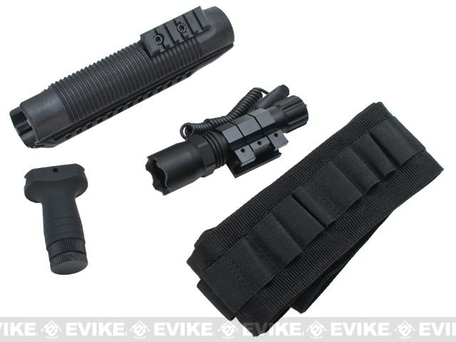 z AIM Tactical Railed For-end, Vertical Grip, Flashlight and Bandolier Combo Kit for Mossberg 500/590/590A1 Shotguns