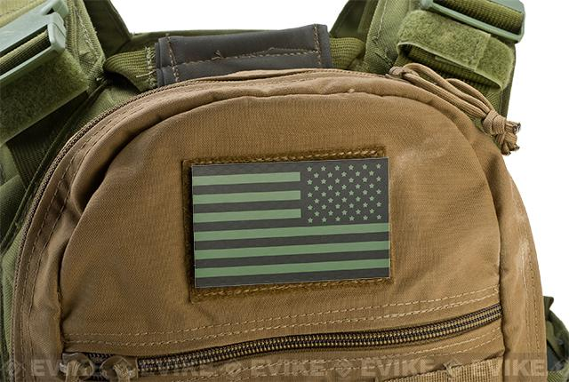 z Reflective US Flag Hook and Loop  Patch - OD / Reverse