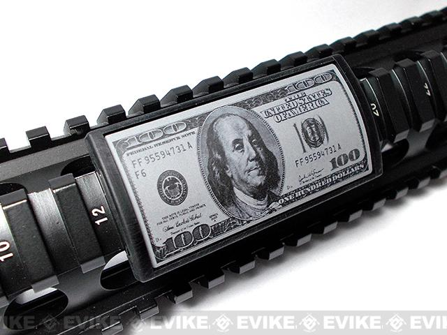 Custom Gun Rails (CGR) Large Laser Engraved Aluminum Rail Cover - Hundred Dollar Bill