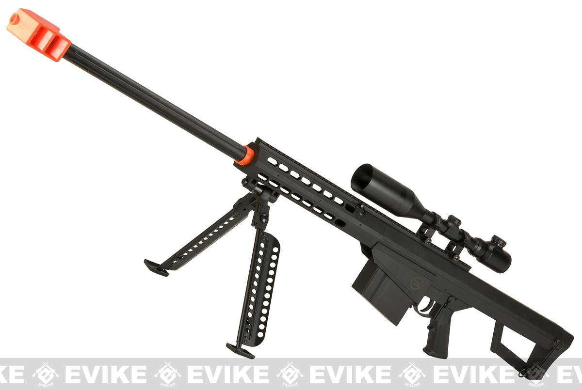 Lancer Tactical LT-20B M82 Polymer Spring Powered Airsoft Sniper Rifle with Bipod - Black