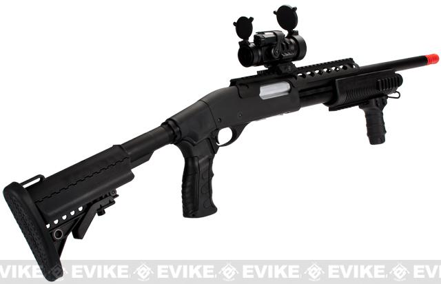 G&P M870 P.T.E. High Power Airsoft Shotgun - MOD Custom with Crane stock