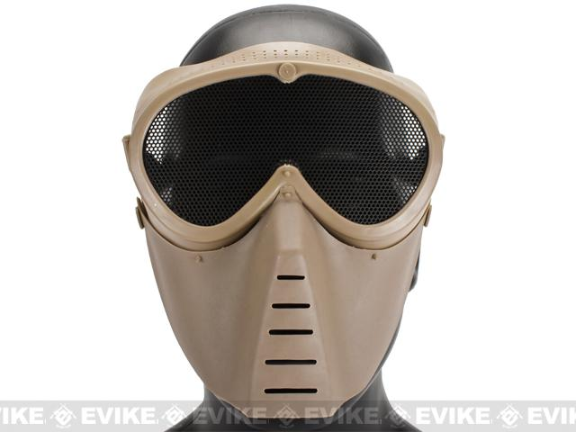 SanSei Type Tactical Low Profile Airsoft Mesh Mask - Dark Earth