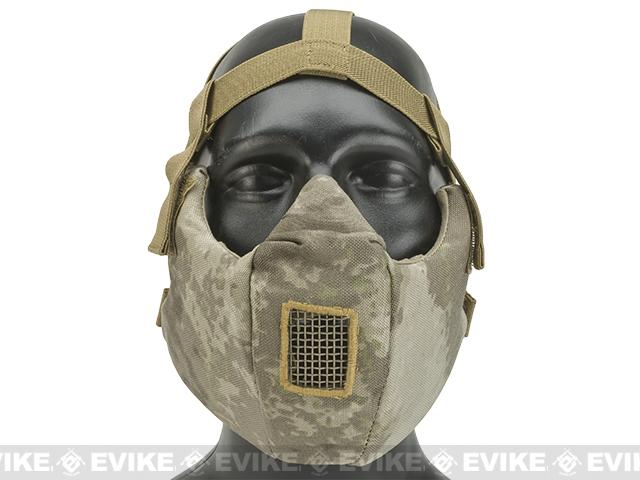 6mmProShop V5 Breathable Padded Dual Layered Nylon Half Face Mask (w/ Bump Helmet Straps) - Arid Camo
