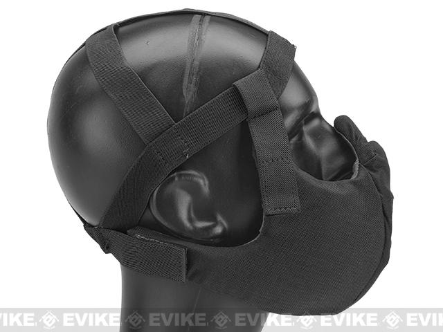 6mmProShop V5 Breathable Padded Dual Layered Nylon Half Face Mask (w/ Bump Helmet Straps) - Black