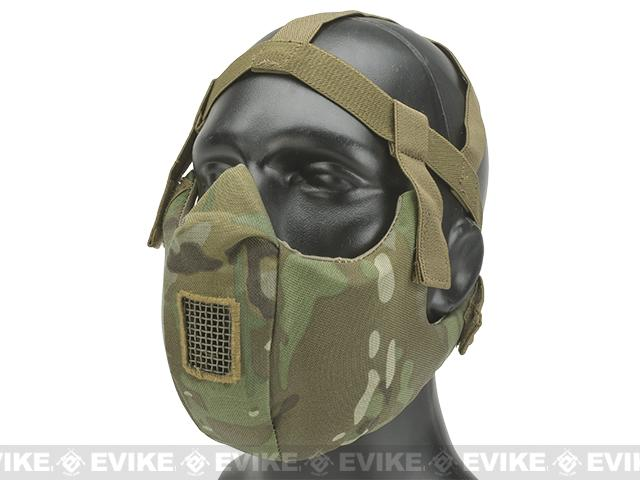 6mmProShop V5 Breathable Padded Dual Layered Nylon Half Face Mask (w/ Bump Helmet Straps) - Camo