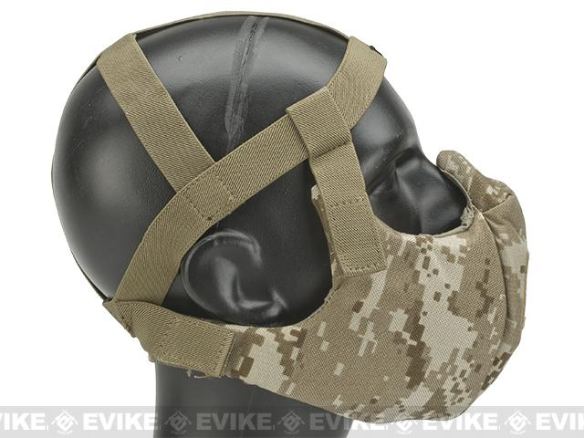 6mmProShop V5 Breathable Padded Dual Layered Nylon Half Face Mask (w/ Bump Helmet Straps) - Digital Desert